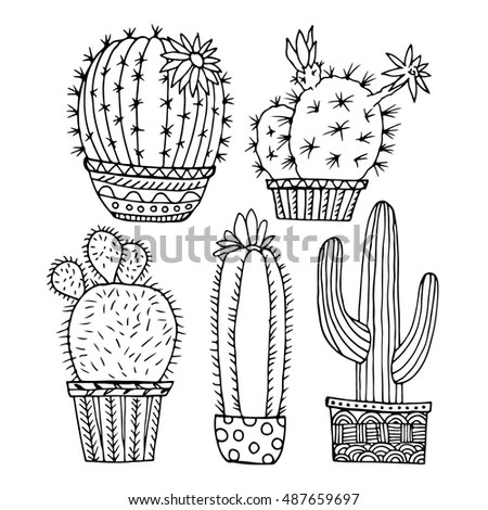 Cactus Set Vector Flowers Isolated On Stock Vector