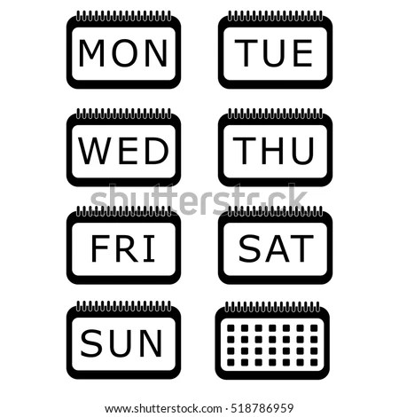 Vector Icon Days Week Calendar Icon Stock Vector 518905906