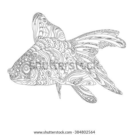 Goldfish Vector Zentangle Stylized Cartoon Goldfish Stock