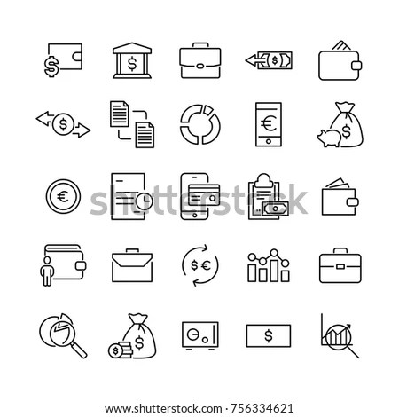Set Premium Banking Icons Line Style Stock Vector