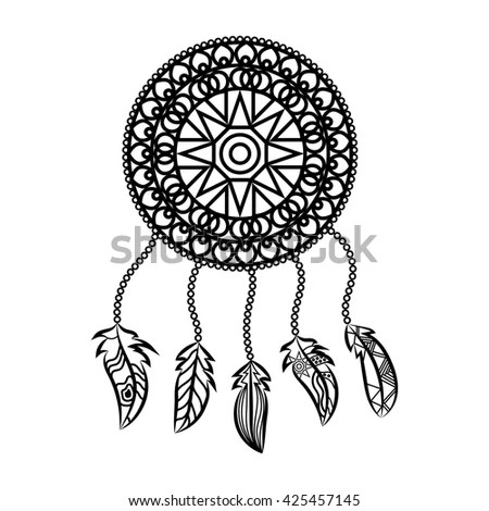 Dream Catcher Coloring Page Stock Illustration 384052633