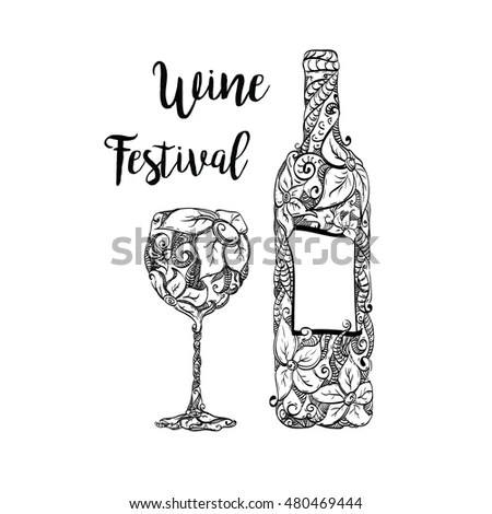 Vector Graphic Illustration Wine Bottle Wineglass Stock