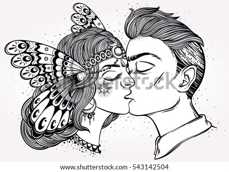 Hand Drawn Beautiful Artwork Young Couple Stock Vector