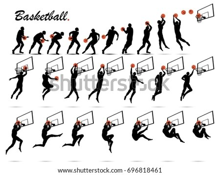 Visual Drawing Silhouettes Basketball Game Start Stock
