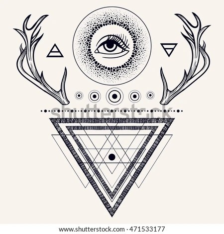 Blackwork Tattoo Flash Dreamcatcher Third Eye Stock Vector