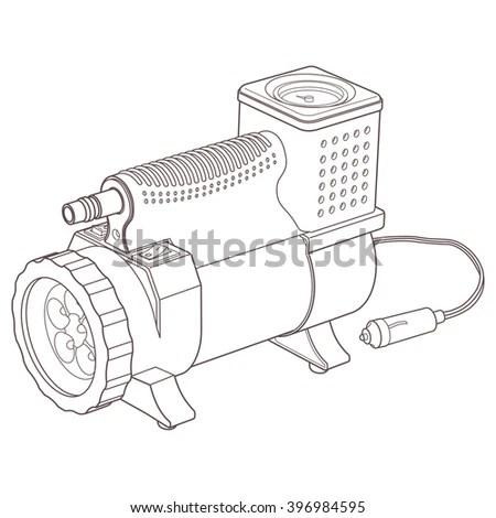 Portable Car Air Compressor Car Tyre Stock Vector