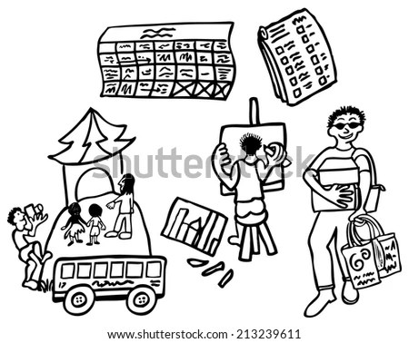 Children Going On School Bus Stock Vector 99786482