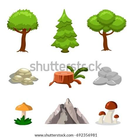 types leaves rocks illustration
