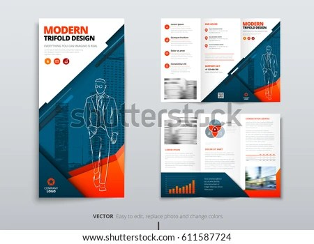 Tri Fold Brochure Design Dl Corporate Stock Vector