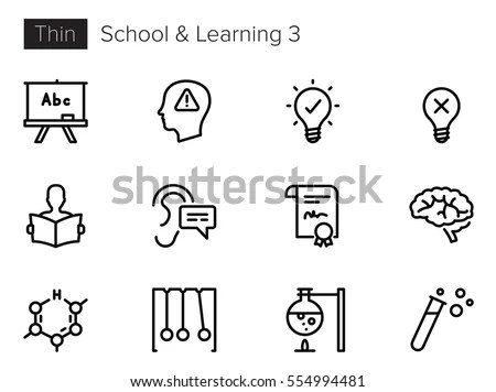 Education School Learning Line Vector Icons Stock Vector