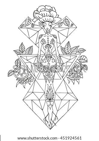 Graphic Gothic Set Devil Circle Pentagram Stock