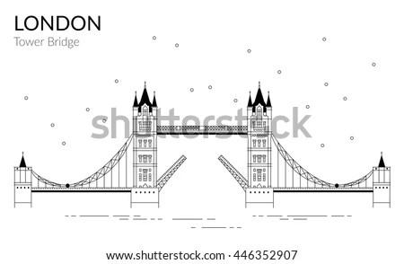 Vector Illustration Tower Bridge Outline Design เวกเตอร์