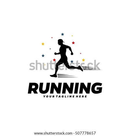 Running Marathon Logo Design Template Stock Vector