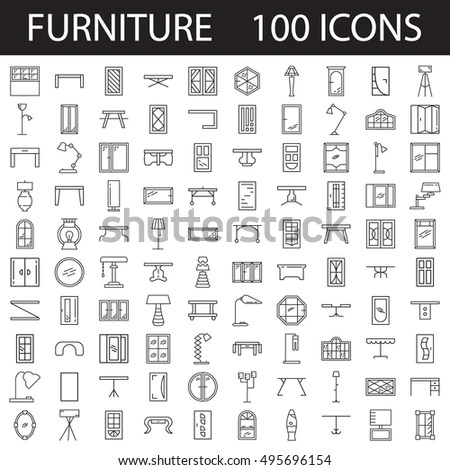 Furniture Line Icon Set Collection High Stock Vector