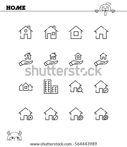 House Icon Set Black Color Business Stock Vector 174803012