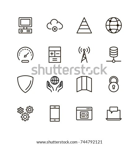 Cybersecurity Virus Malware Computer Security Icons Stock