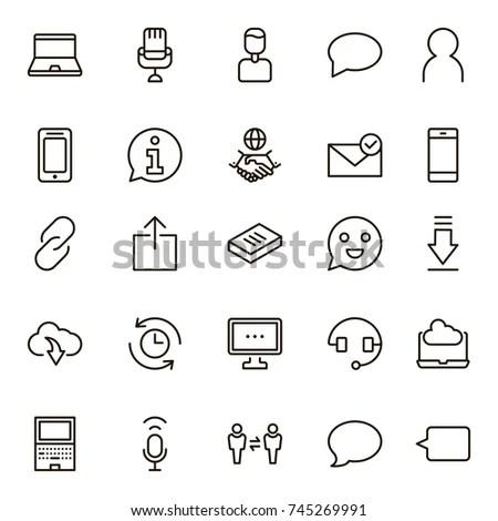 Linear Communication Icons Set Universal Communication