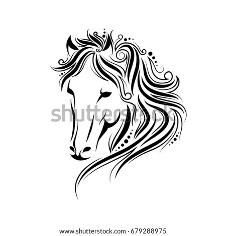 Silhouette Horse Vector Linear Drawing Stock Vector
