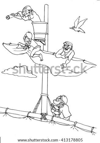Cartoon Seagull Resting On Hammock Drinking Stock Vector