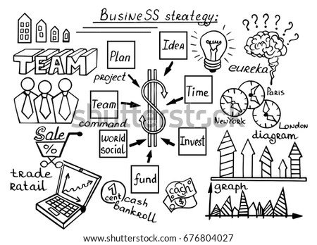 Business Doodle Sketch Set Icons Included Stock Vector