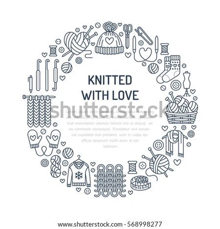 Knitting Crochet Hand Made Banner Illustration Stock