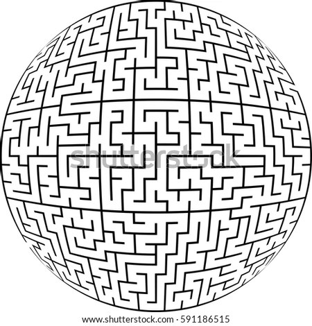 Labyrinth Planet Endless Maze Spherical Shape Stock