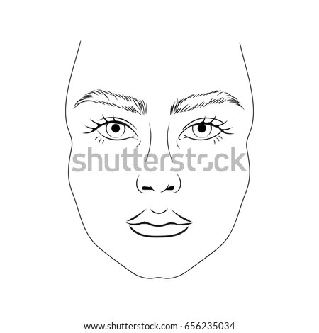 Face Chart Model No Makeup Thick Stock Vector 656235034