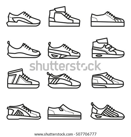 Sneakers Running Shoes Vector Thin Line Stock Vector