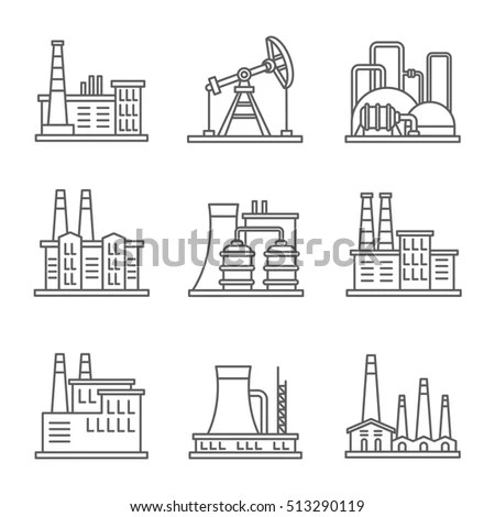 Factory Industrial Building Manufacturing Plants Vector