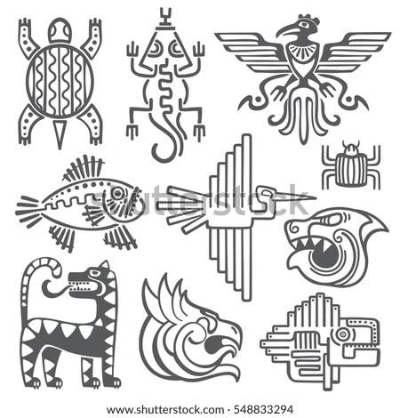 Historic Aztec Inca Vector Symbols Mayan Stock Vector