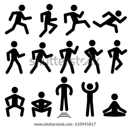 People Figures Motion Running Walking Jumping Stock Vector