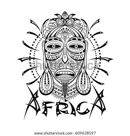 Decorative Illustration African Mask Isolated On Stock