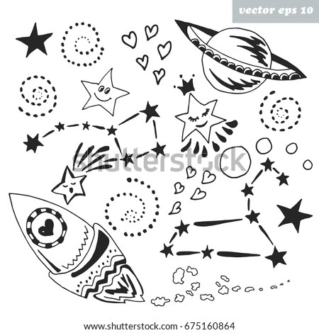 Hand Drawn Cosmic Elements Space Rocket Stock Vector