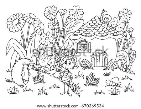 Vector Illustration Zentangl Ant Hedgehog Clearing Stock
