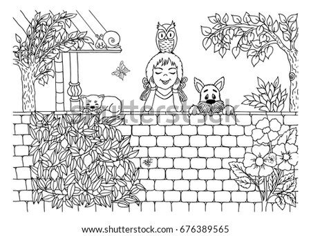 Vector Illustration Zentangl Fox Near House Stock Vector