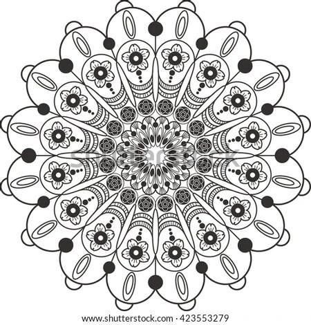 Finnish Inspired Round Folk Art Pattern Stock Vector
