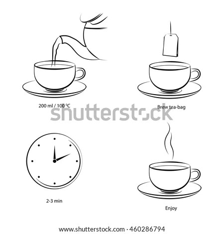 Tea Making Instruction Guidelines How Make Stock Vector