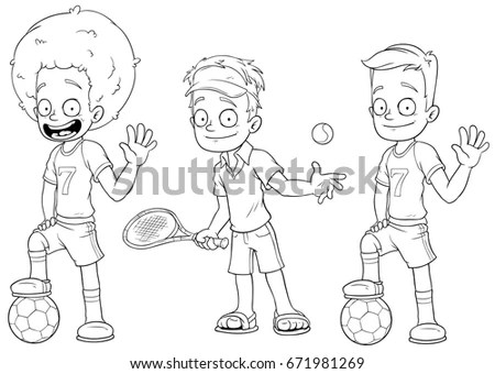 Cartoon Kids Illustrating Five Senses Stock Illustration