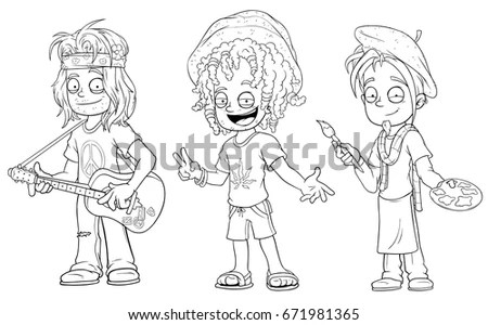 Cartoon Family Outline Drawing Stock Illustration 89744164