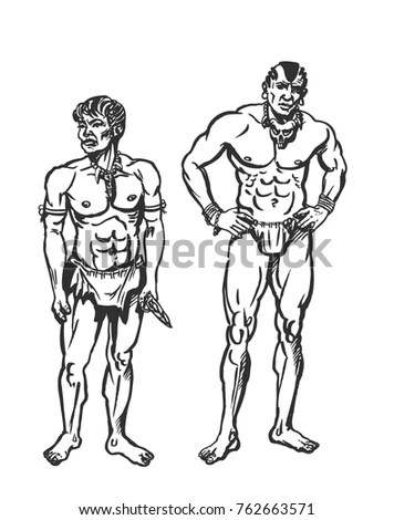 Vector Drawing Vintage Old Timey Boxers Stock Vector