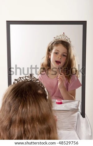 princess bean bag chair baby egg high little girl looking herself mirror while stock photo 48243685 - shutterstock