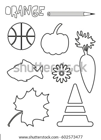 Coloring Page Orange Things Set Single Stock Vector