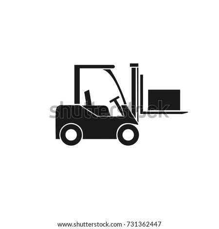 Forklift Truck Icon Transportation Cargo Boxes Stock