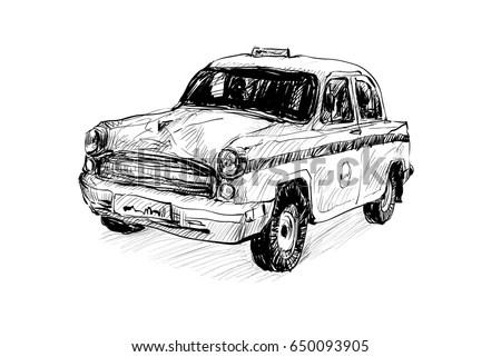 Tow Truck Vector Sketch Drawing Racing Stock Vector