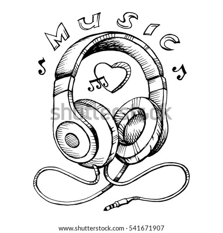 Doodle Style Headphones Sketch Vector Illustration Stock