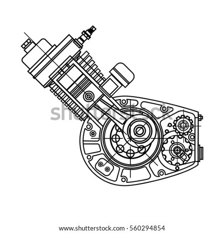 Drawing Internal Combustion Motocycle Engine Isolated