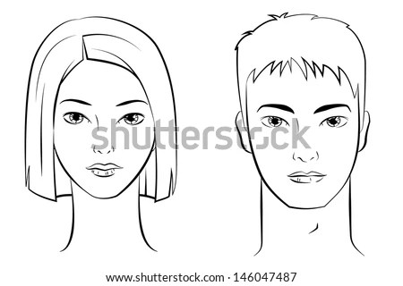 Ink Drawing Asian Female Male Faces Stock Vector 146047487