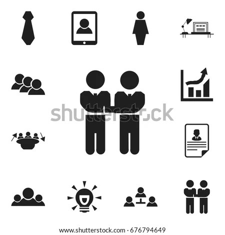 Conference Meeting Icons Set Team Work Stock Vector