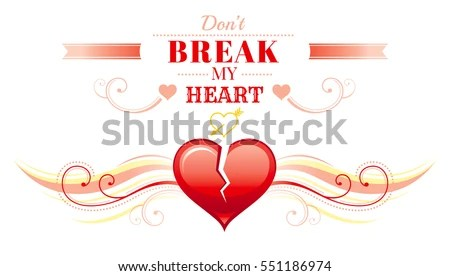 Happy Valentines Day Border Broken Heart Stock Vector