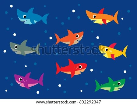 Cute Baby Cartoon Wallpaper Cute Shark Vector Stock Vector 602292347 Shutterstock